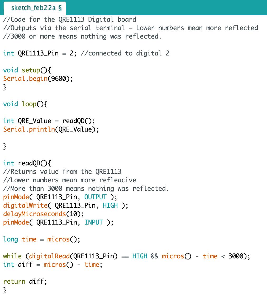 Figure 2.1 Arduino Code for IR Sensor testing
