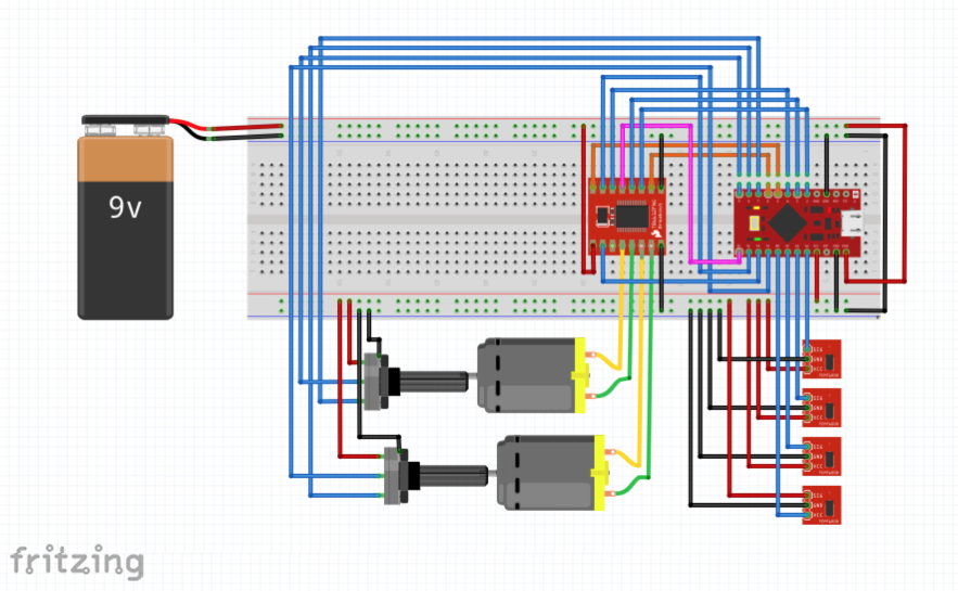 Figure 3 Fritzing Diagram for Test Robot Connections