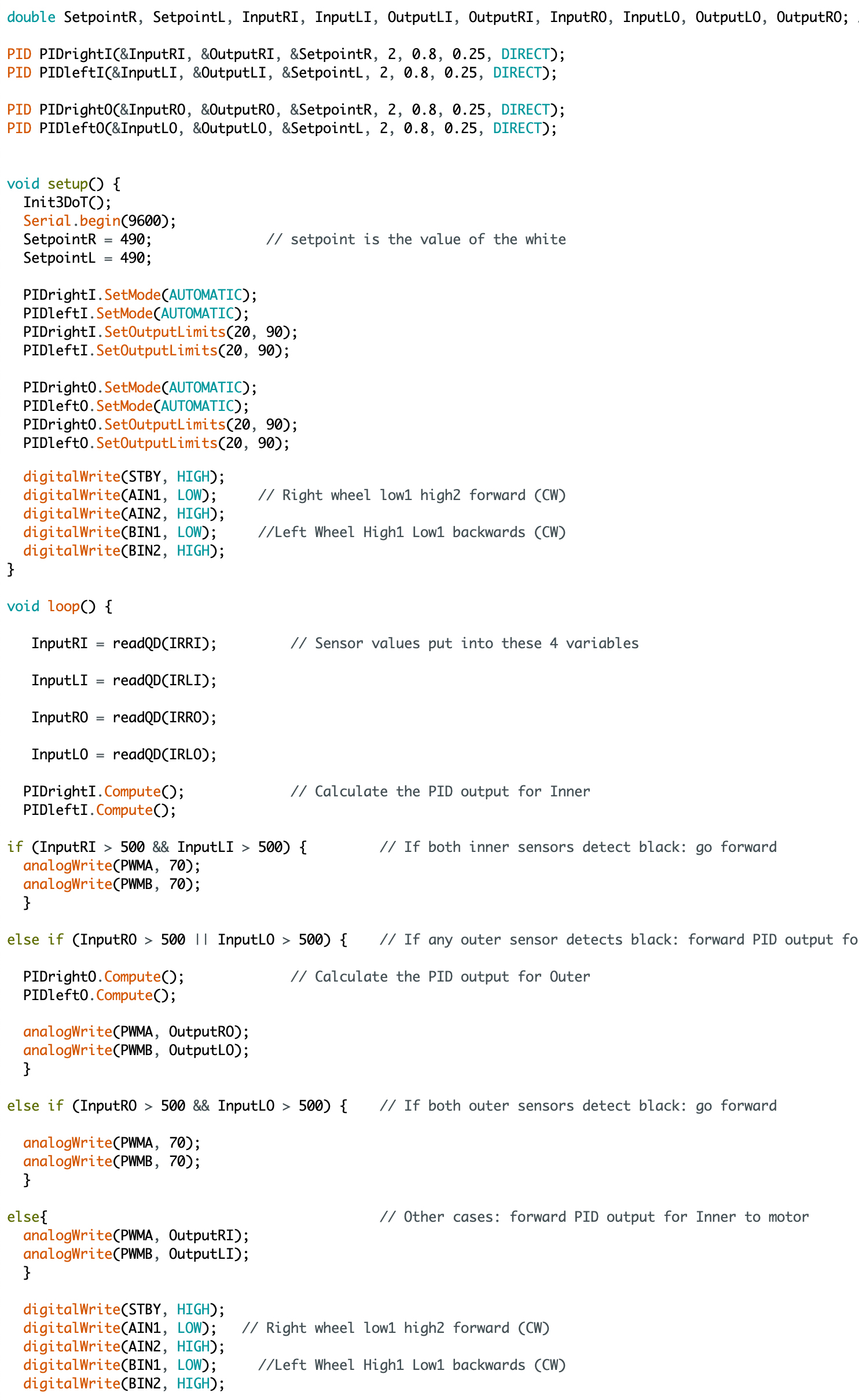 Figure 4 Code for Test Robot Line Following with Updated Control Loop